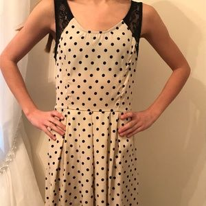 LF Polka Dot & Lace Dress with Exposed Zipper